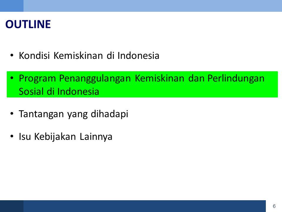 6 OUTLINE • Kondisi Kemiskinan di Indonesia • Program Penanggulangan Kemiskinan dan Perlindungan Sosial di Indonesia • Tantangan yang dihadapi • Isu Kebijakan Lainnya