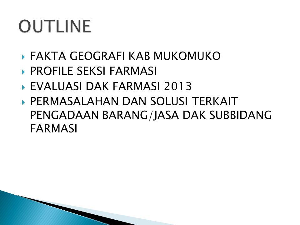  FAKTA GEOGRAFI KAB MUKOMUKO  PROFILE SEKSI FARMASI  EVALUASI DAK FARMASI 2013  PERMASALAHAN DAN SOLUSI TERKAIT PENGADAAN BARANG/JASA DAK SUBBIDAN