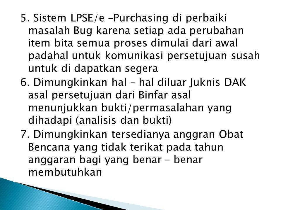 5. Sistem LPSE/e –Purchasing di perbaiki masalah Bug karena setiap ada perubahan item bita semua proses dimulai dari awal padahal untuk komunikasi per