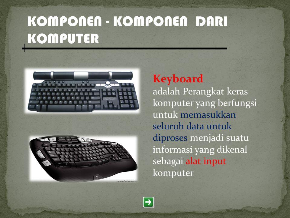 KOMPONEN - KOMPONEN DARI KOMPUTER Keyboard adalah Perangkat keras komputer yang berfungsi untuk memasukkan seluruh data untuk diproses menjadi suatu i