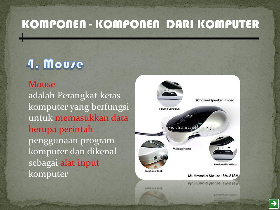 Mouse adalah Perangkat keras komputer yang berfungsi untuk memasukkan data berupa perintah penggunaan program komputer dan dikenal sebagai alat input