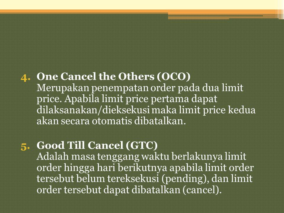 4.One Cancel the Others (OCO) Merupakan penempatan order pada dua limit price. Apabila limit price pertama dapat dilaksanakan/dieksekusi maka limit pr