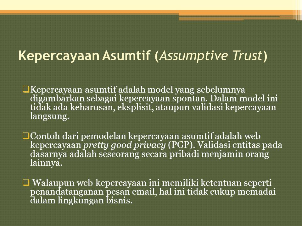 Kepercayaan Asumtif (Assumptive Trust)  Kepercayaan asumtif adalah model yang sebelumnya digambarkan sebagai kepercayaan spontan. Dalam model ini tid