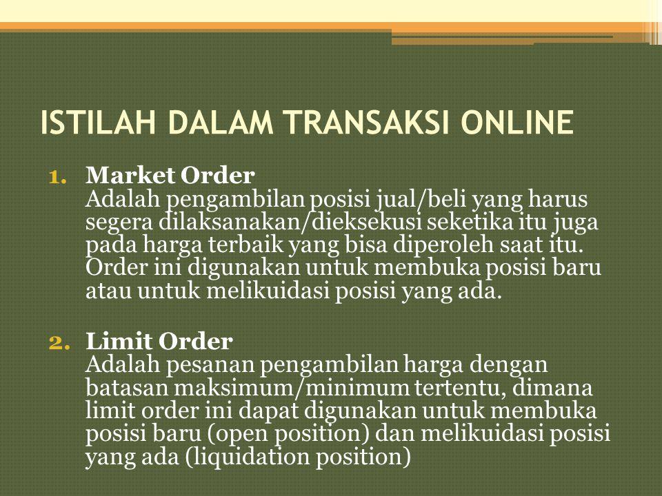 ISTILAH DALAM TRANSAKSI ONLINE 1.Market Order Adalah pengambilan posisi jual/beli yang harus segera dilaksanakan/dieksekusi seketika itu juga pada har