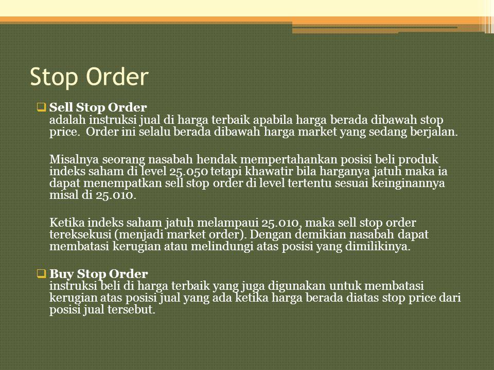 Stop Order  Sell Stop Order adalah instruksi jual di harga terbaik apabila harga berada dibawah stop price. Order ini selalu berada dibawah harga mar