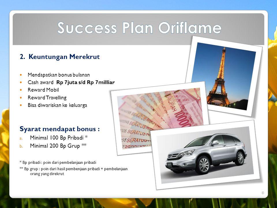 2. Keuntungan Merekrut  Mendapatkan bonus bulanan  Cash award Rp 7juta s/d Rp 7milliar  Reward Mobil  Reward Travelling  Bisa diwariskan ke kelua
