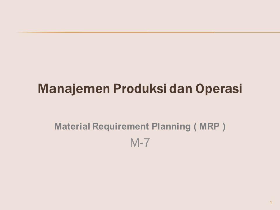 Manajemen Produksi dan Operasi Material Requirement Planning ( MRP ) M-7 1