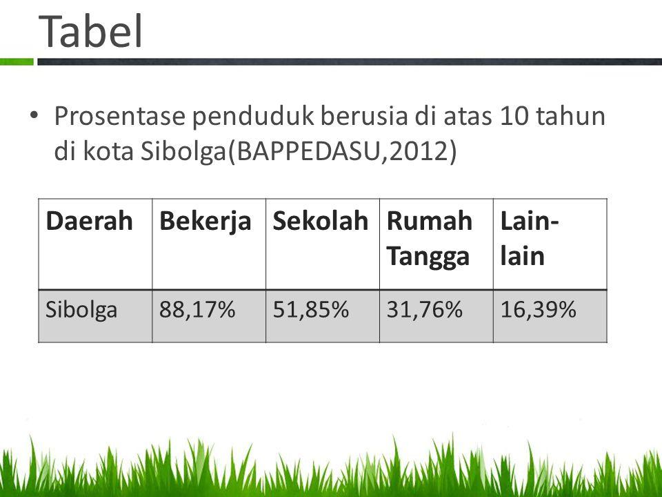 Tabel • Prosentase penduduk berusia di atas 10 tahun di kota Sibolga(BAPPEDASU,2012) DaerahBekerjaSekolahRumah Tangga Lain- lain Sibolga88,17%51,85%31