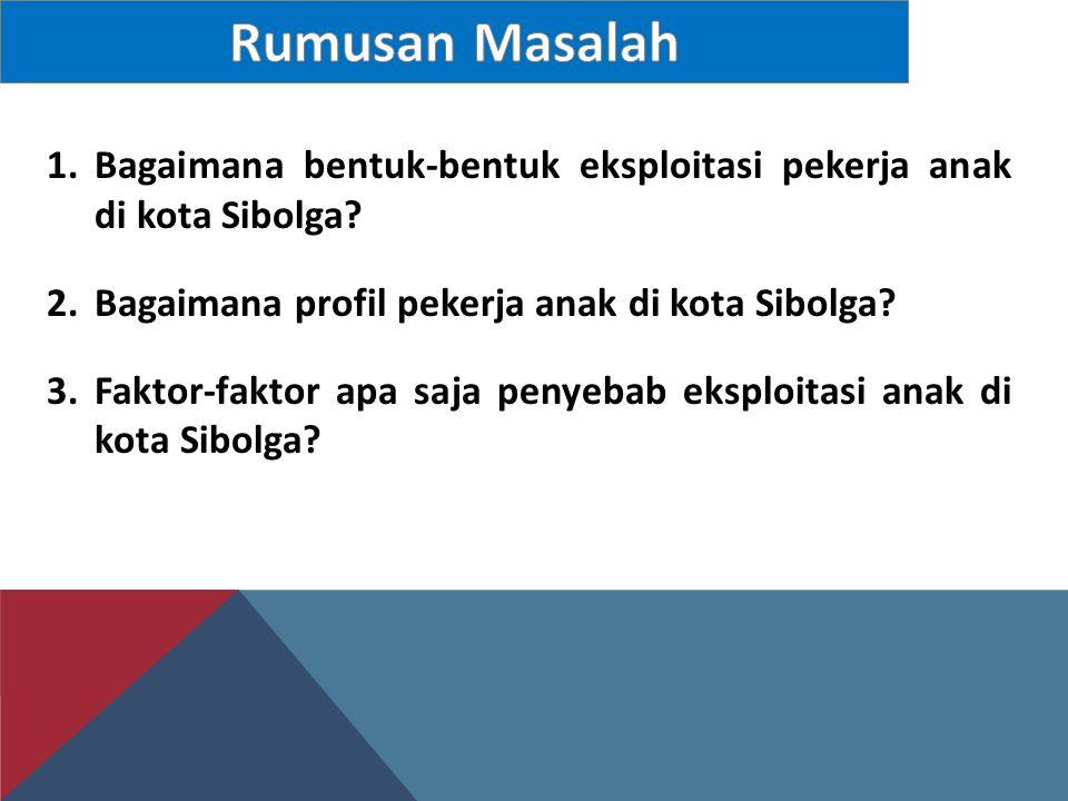 1.Bagaimana bentuk-bentuk eksploitasi pekerja anak di kota Sibolga? 2.Bagaimana profil pekerja anak di kota Sibolga? 3.Faktor-faktor apa saja penyebab