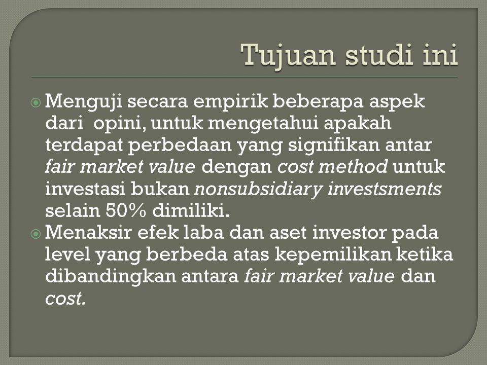  Menguji secara empirik beberapa aspek dari opini, untuk mengetahui apakah terdapat perbedaan yang signifikan antar fair market value dengan cost method untuk investasi bukan nonsubsidiary investsments selain 50% dimiliki.