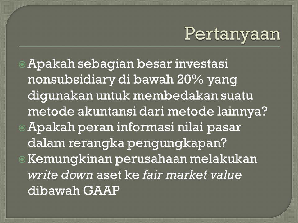  Apakah sebagian besar investasi nonsubsidiary di bawah 20% yang digunakan untuk membedakan suatu metode akuntansi dari metode lainnya.