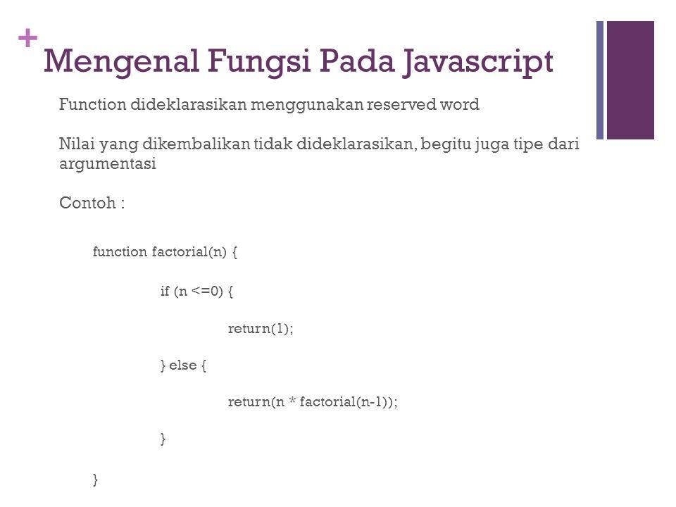 + Mengenal Fungsi Pada Javascript Function dideklarasikan menggunakan reserved word Nilai yang dikembalikan tidak dideklarasikan, begitu juga tipe dari argumentasi Contoh : function factorial(n) { if (n <=0) { return(1); } else { return(n * factorial(n-1)); }