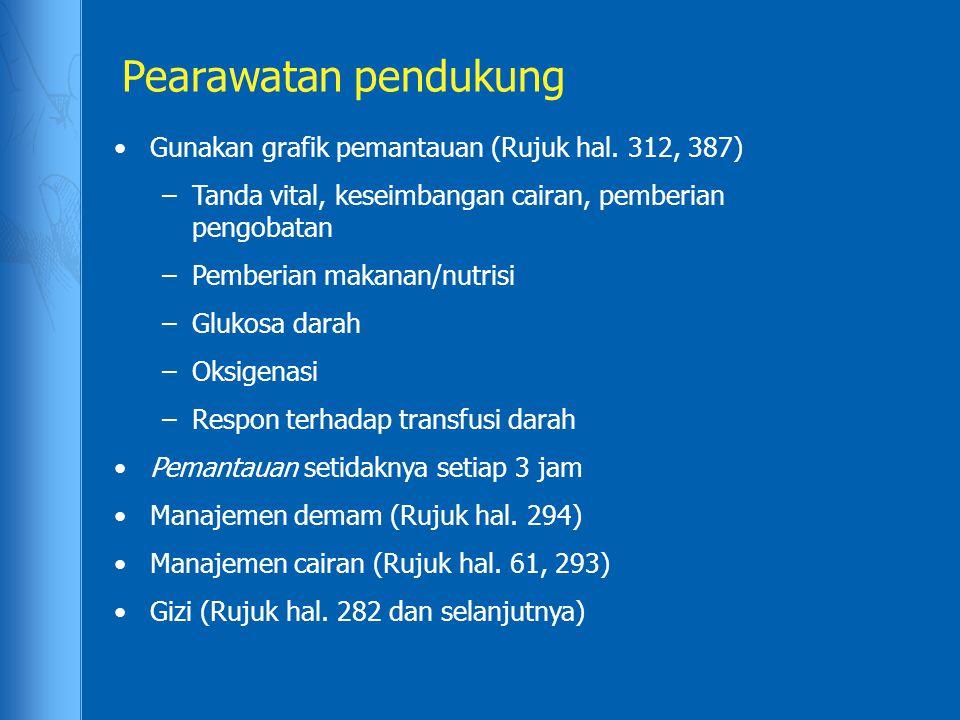 Pearawatan pendukung •Gunakan grafik pemantauan (Rujuk hal. 312, 387) –Tanda vital, keseimbangan cairan, pemberian pengobatan –Pemberian makanan/nutri