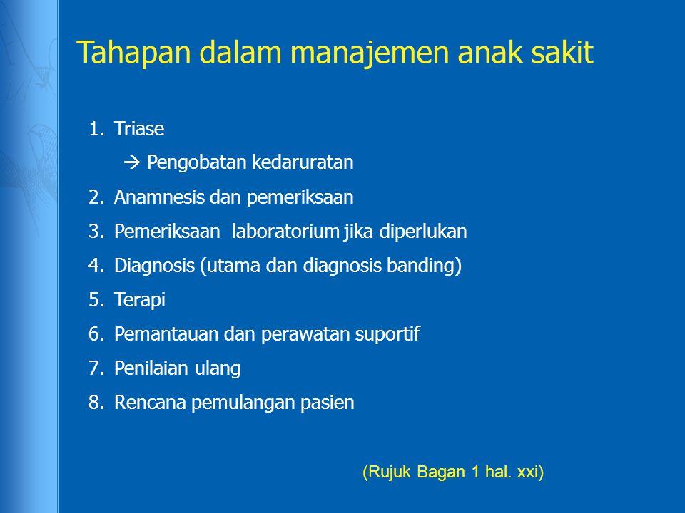 1.Triase  Pengobatan kedaruratan 2.Anamnesis dan pemeriksaan 3.Pemeriksaan laboratorium jika diperlukan 4.Diagnosis (utama dan diagnosis banding) 5.T