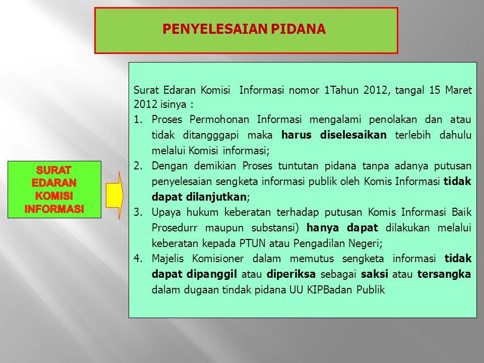 Surat Edaran Komisi Informasi nomor 1Tahun 2012, tangal 15 Maret 2012 isinya : 1.Proses Permohonan Informasi mengalami penolakan dan atau tidak ditang