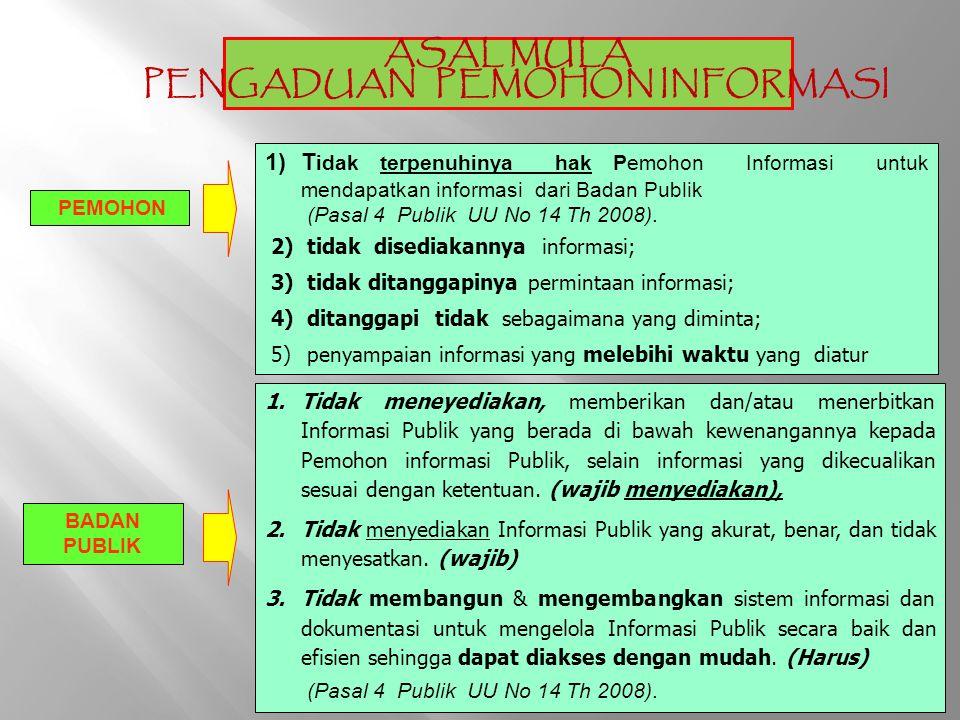 ASAL MULA PENGADUAN INFORMASI 1.