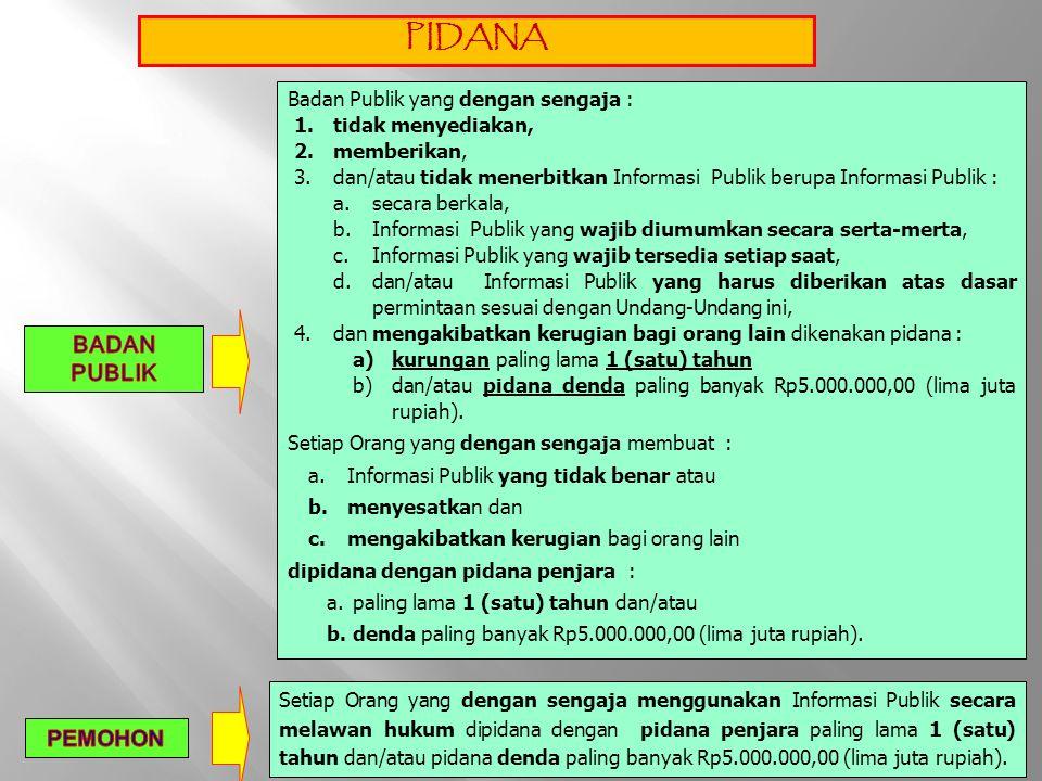 PIDANA Badan Publik yang dengan sengaja : 1.tidak menyediakan, 2.memberikan, 3.dan/atau tidak menerbitkan Informasi Publik berupa Informasi Publik : a
