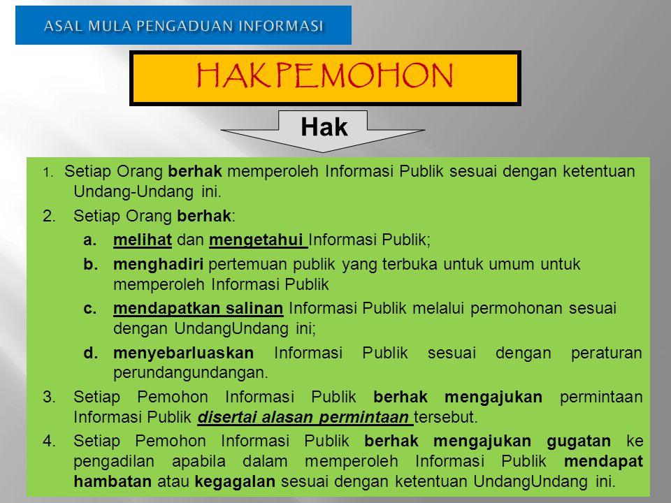 ASAL MULA PENGADUAN INFORMASI 1. Setiap Orang berhak memperoleh Informasi Publik sesuai dengan ketentuan Undang-Undang ini. 2.Setiap Orang berhak: a.
