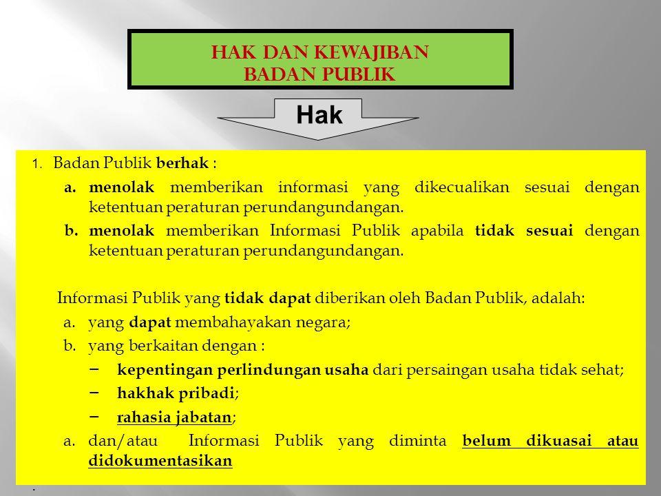 1.Badan Publik wajib : a)menyediakan, memberikan dan/atau menerbitkan Informasi Publik yang berada di bawah kewenangannya kepada Pemohon informasi Publik, selain informasi yang dikecualikan sesuai dengan ketentuan.