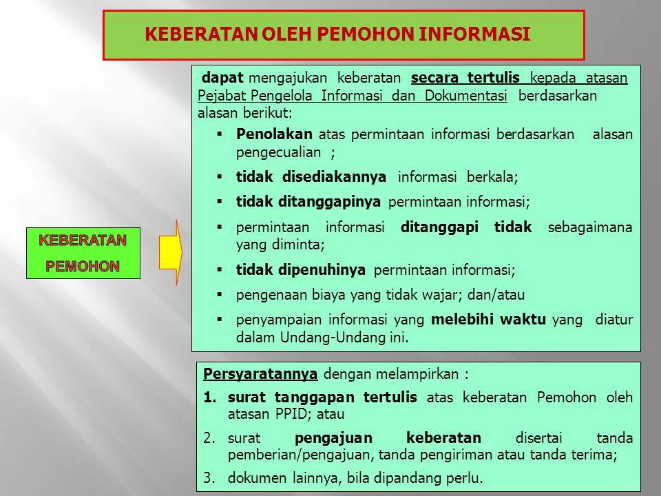 KEBERATAN OLEH PEMOHON INFORMASI dapat mengajukan keberatan secara tertulis kepada atasan Pejabat Pengelola Informasi dan Dokumentasi berdasarkan alas