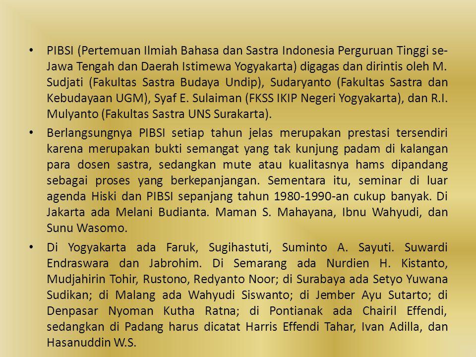 • PIBSI (Pertemuan Ilmiah Bahasa dan Sastra Indonesia Perguruan Tinggi se- Jawa Tengah dan Daerah Istimewa Yogyakarta) digagas dan dirintis oleh M. Su