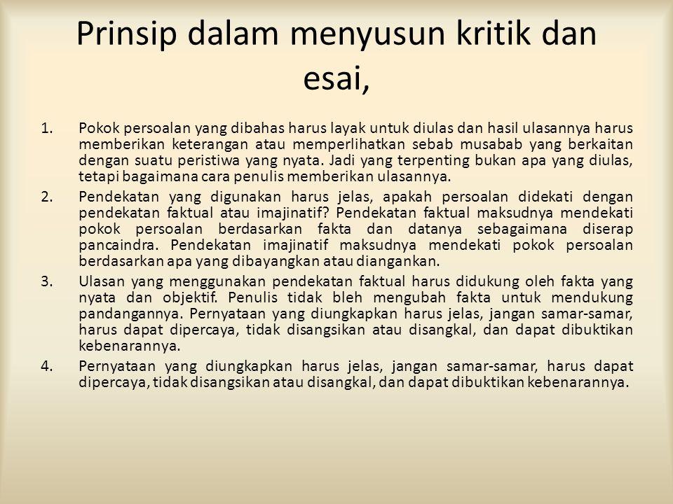 Prinsip dalam menyusun kritik dan esai, 1.Pokok persoalan yang dibahas harus layak untuk diulas dan hasil ulasannya harus memberikan keterangan atau m