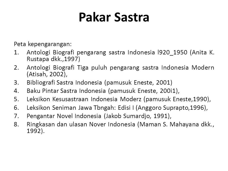 Pakar Sastra Peta kepengarangan: 1.Antologi Biografi pengarang sastra Indonesia l920_1950 (Anita K. Rustapa dkk.,1997) 2.Antologi Biografi Tiga puluh