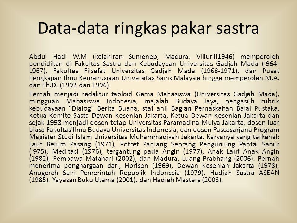 Data-data ringkas pakar sastra Abdul Hadi W.M (kelahiran Sumenep, Madura, Vlllurlli1946) memperoleh pendidikan di Fakultas Sastra dan Kebudayaan Unive