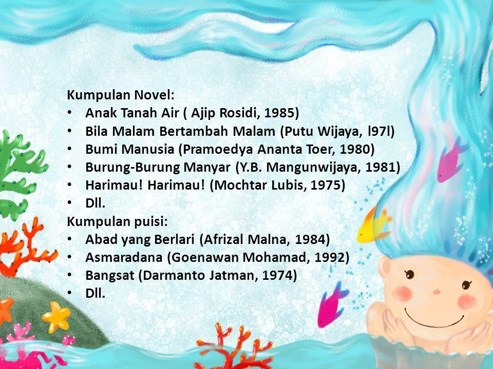Kumpulan Novel: • Anak Tanah Air ( Ajip Rosidi, 1985) • Bila Malam Bertambah Malam (Putu Wijaya, l97l) • Bumi Manusia (Pramoedya Ananta Toer, 1980) •
