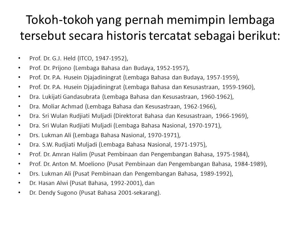 Tokoh-tokoh yang pernah memimpin lembaga tersebut secara historis tercatat sebagai berikut: • Prof. Dr. G.J. Held (ITCO, 1947-1952), • Prof. Dr. Prijo