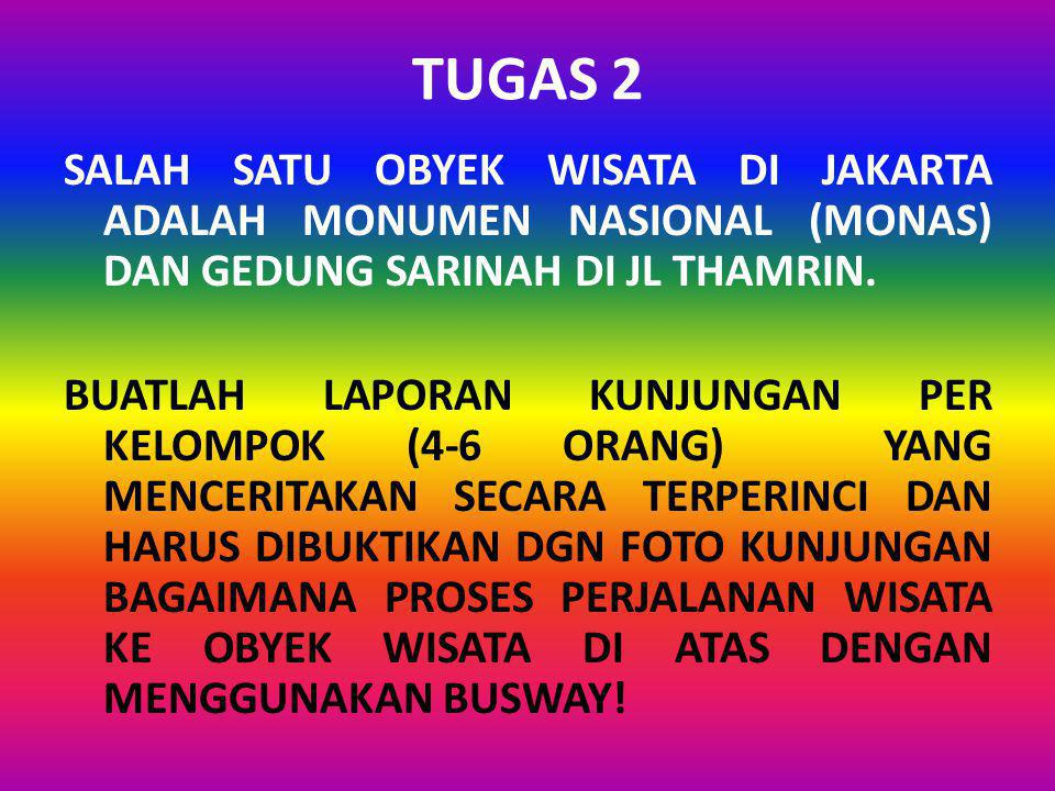 TUGAS 2 SALAH SATU OBYEK WISATA DI JAKARTA ADALAH MONUMEN NASIONAL (MONAS) DAN GEDUNG SARINAH DI JL THAMRIN. BUATLAH LAPORAN KUNJUNGAN PER KELOMPOK (4