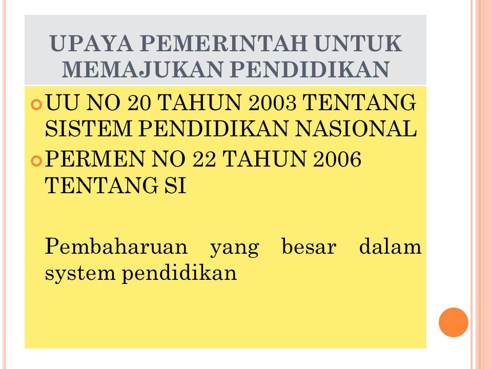 UPAYA PEMERINTAH UNTUK MEMAJUKAN PENDIDIKAN UU NO 20 TAHUN 2003 TENTANG SISTEM PENDIDIKAN NASIONAL PERMEN NO 22 TAHUN 2006 TENTANG SI Pembaharuan yang besar dalam system pendidikan