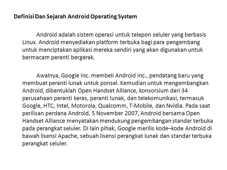 Macam - Macam Sistem Operasi Android Android versi 1.1 Android versi 1.5 (Cupcake) Android versi 1.6 (Donut) Android versi 2.0/2.1 (Eclair) Android versi 2.2 (Froyo) Android versi 2.3 (Gingerbread) Android versi 3.0/3.1 (Honeycomb) Andoid versi 4.0 (Ice Cream)
