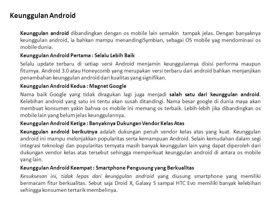 Kekurangan Android Android adalah produk yang luar biasa, segudang fitur ada didalamnya, bahkan versi terbaru dari OS besutan Google ini digadang gadang jauh lebih bagus dari iOS.