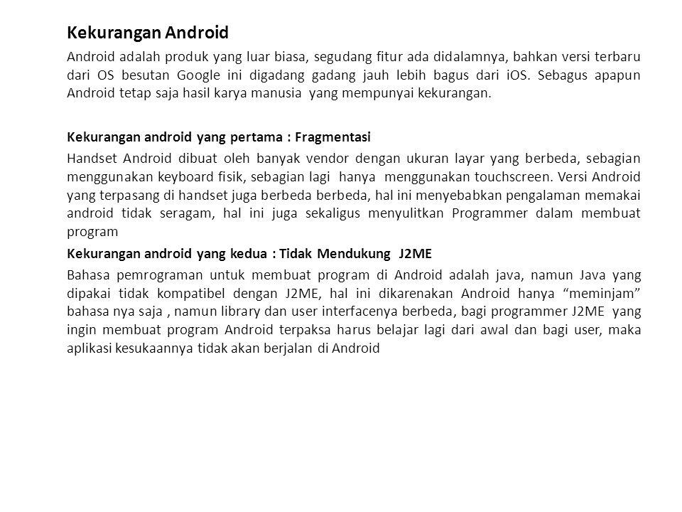Kekurangan android yang ke tiga : Boros Baterai Handset Android terkenal boros baterai, hal ini maklum karena efek dari banyaknya fitur android, terutama Fitur 3G, Maps dan GPS.