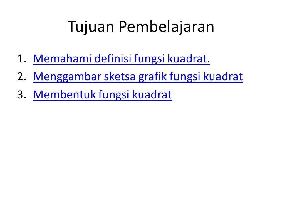Tujuan Pembelajaran 1.Memahami definisi fungsi kuadrat.Memahami definisi fungsi kuadrat.