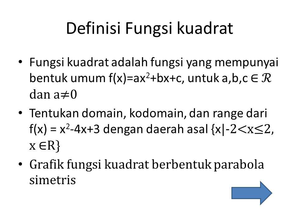 Definisi Fungsi kuadrat • Fungsi kuadrat adalah fungsi yang mempunyai bentuk umum f(x)=ax 2 +bx+c, untuk a,b,c ∈ ℛ dan a≠0 • Tentukan domain, kodomain, dan range dari f(x) = x 2 -4x+3 dengan daerah asal {x |-2<x≤2, x ∈R} • Grafik fungsi kuadrat berbentuk parabola simetris