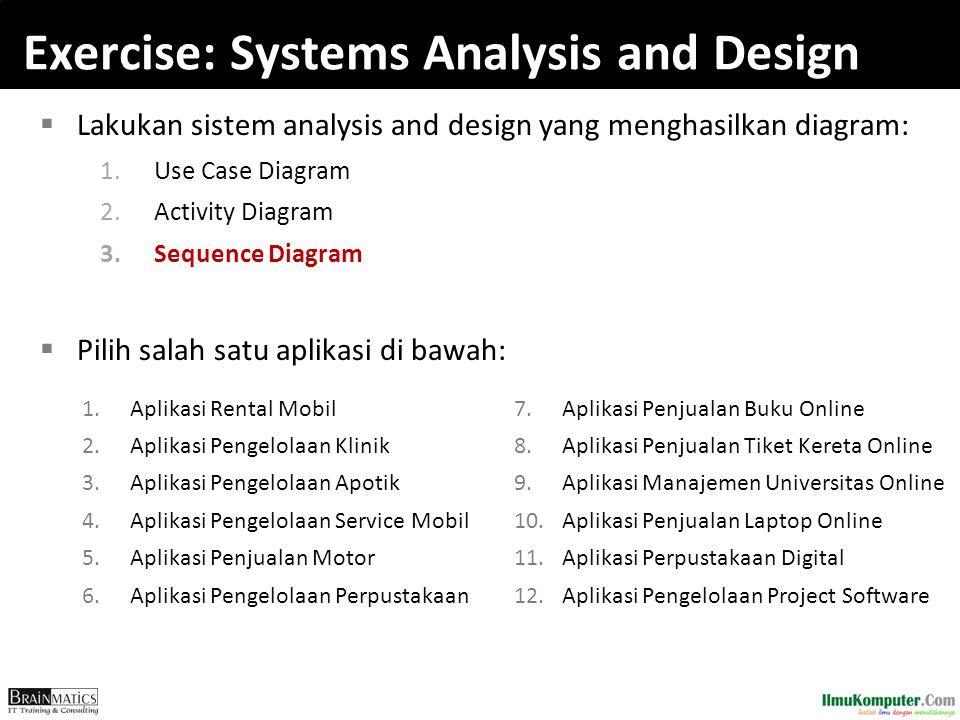 Exercise: Systems Analysis and Design  Lakukan sistem analysis and design yang menghasilkan diagram: 1.Use Case Diagram 2.Activity Diagram 3.Sequence