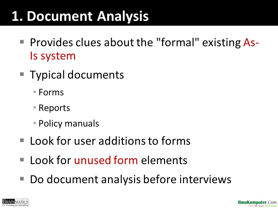 1. Document Analysis  Provides clues about the