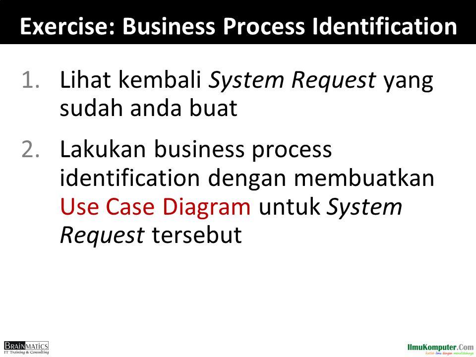 Exercise: Business Process Identification 1.Lihat kembali System Request yang sudah anda buat 2.Lakukan business process identification dengan membuatkan Use Case Diagram untuk System Request tersebut
