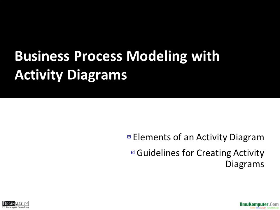 Elements of an Activity Diagram Guidelines for Creating Activity Diagrams Business Process Modeling with Activity Diagrams