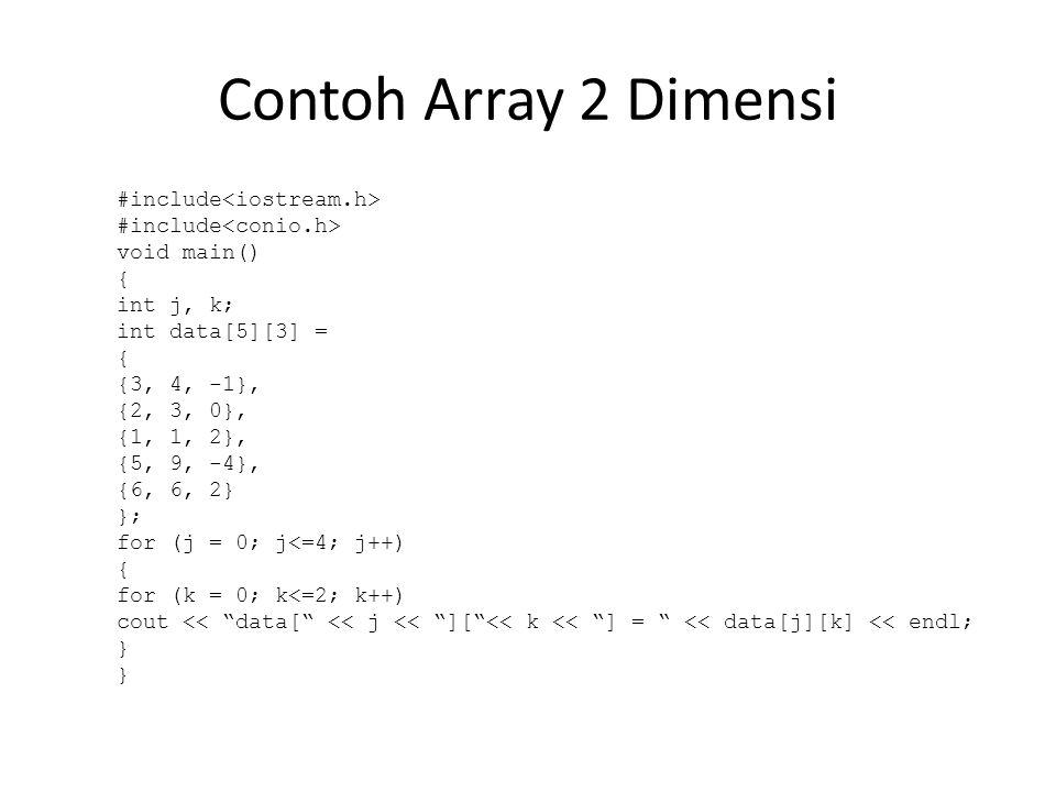 Latihan 1.Buatlah program untuk menampilkan data terbesar (maks) dari suatu array data[10] = {4, 1, 0, -9, 8, 5, -1, 2, 3, -7}; 2.Diberikan suatu n buah data statistik yang diisikan ke dalam larik bertipe real.
