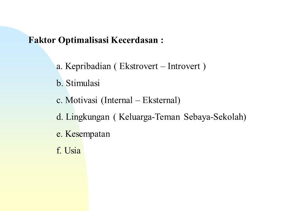 Faktor Optimalisasi Kecerdasan : a. Kepribadian ( Ekstrovert – Introvert ) b.