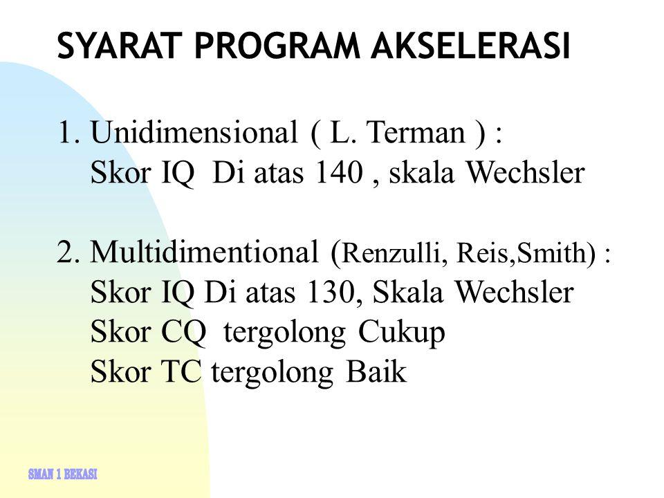 SYARAT PROGRAM AKSELERASI 1. Unidimensional ( L. Terman ) : Skor IQ Di atas 140, skala Wechsler 2.