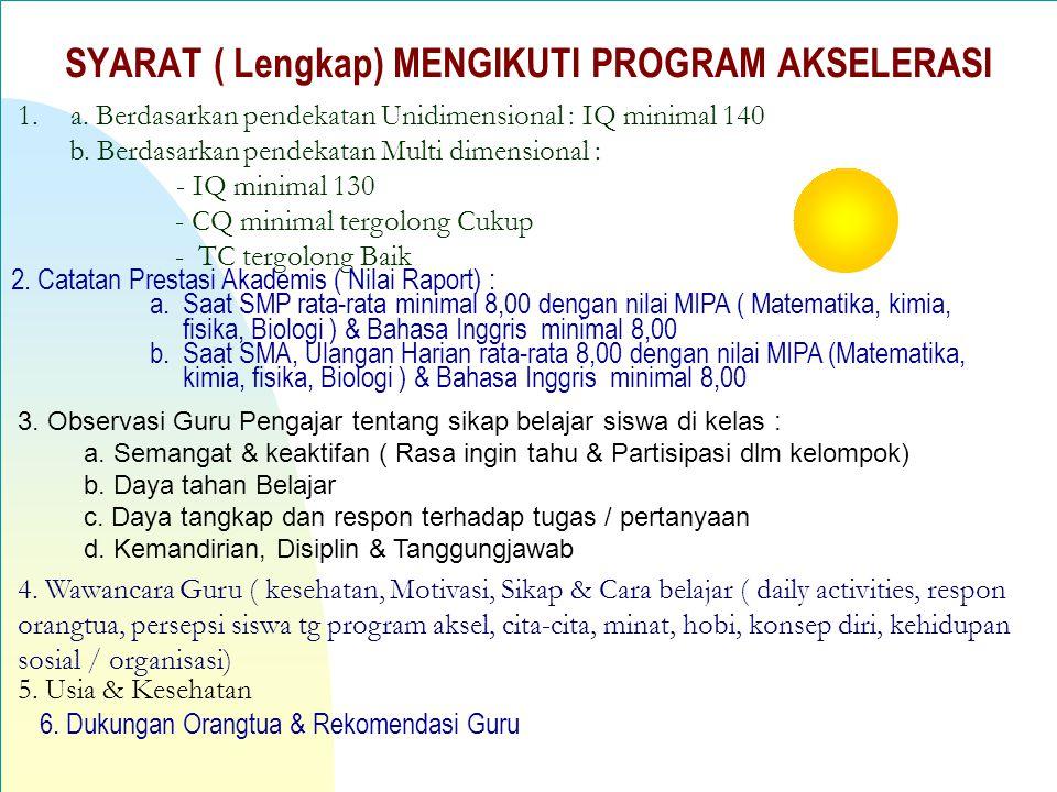 SYARAT ( Lengkap) MENGIKUTI PROGRAM AKSELERASI 1.a.