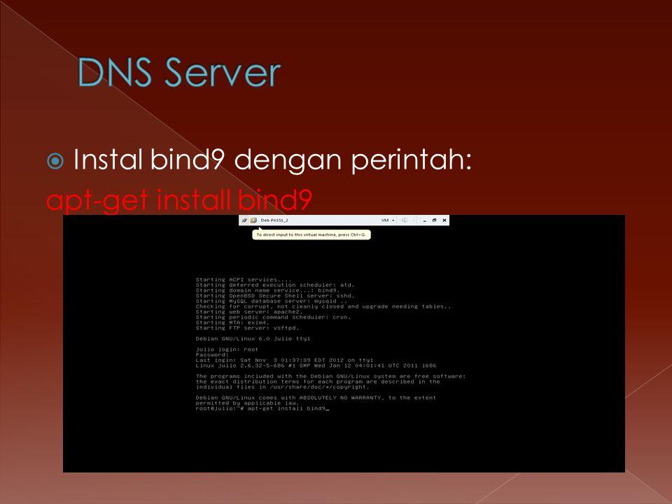  Instal bind9 dengan perintah: apt-get install bind9