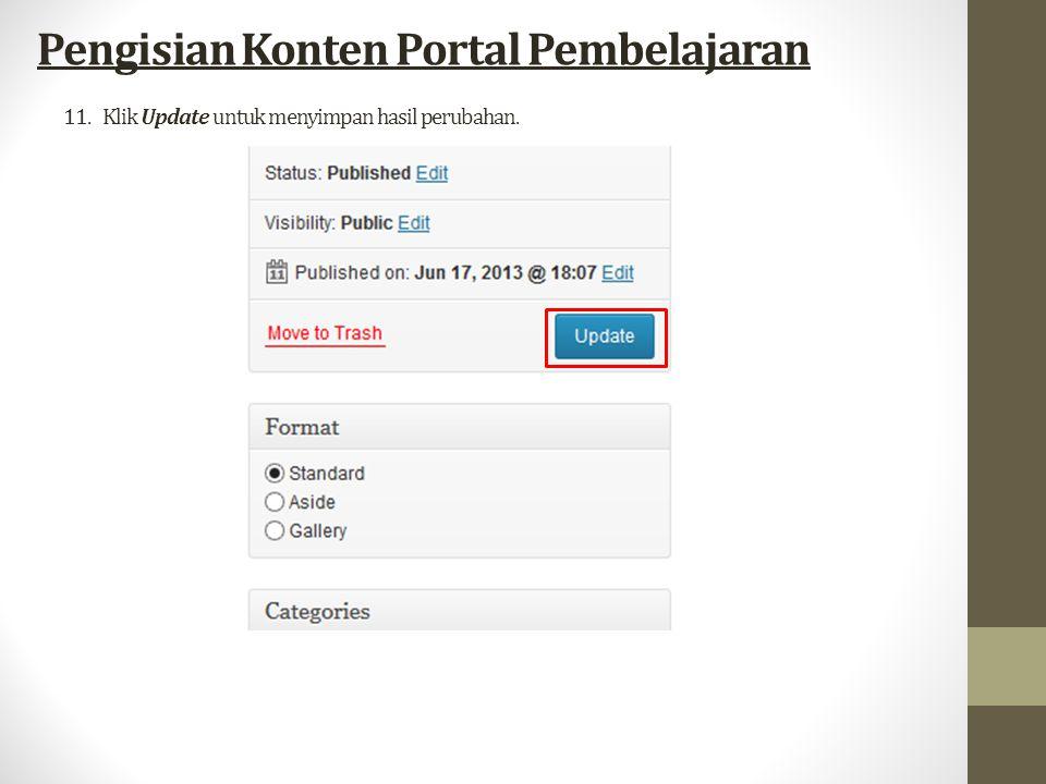 11.Klik Update untuk menyimpan hasil perubahan. Pengisian Konten Portal Pembelajaran