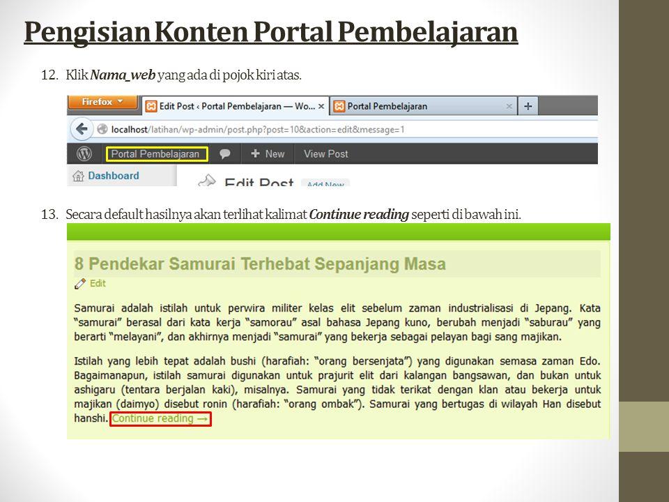 12.Klik Nama_web yang ada di pojok kiri atas.