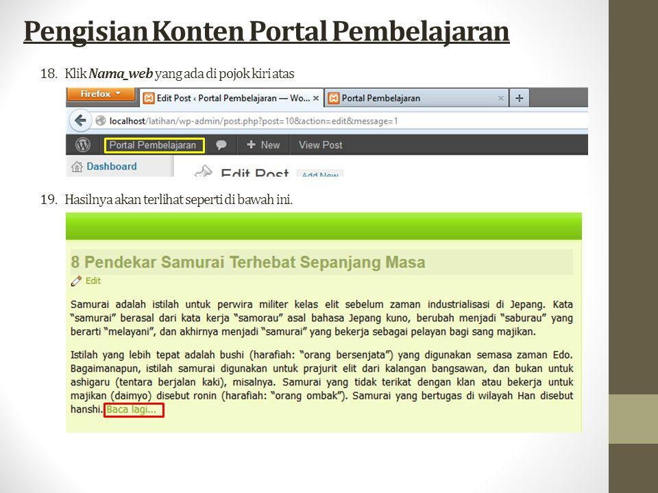 18.Klik Nama_web yang ada di pojok kiri atas Pengisian Konten Portal Pembelajaran 19.Hasilnya akan terlihat seperti di bawah ini.