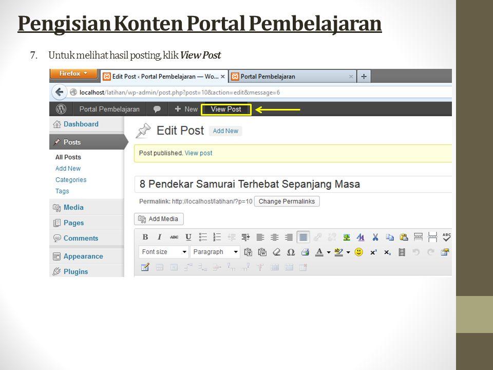 7.Untuk melihat hasil posting, klik View Post Pengisian Konten Portal Pembelajaran